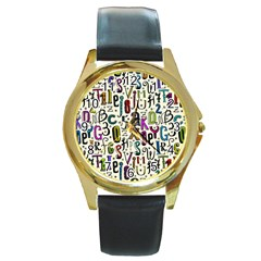 Colorful Retro Style Letters Numbers Stars Round Gold Metal Watch