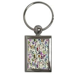 Colorful Retro Style Letters Numbers Stars Key Chains (rectangle)  by EDDArt