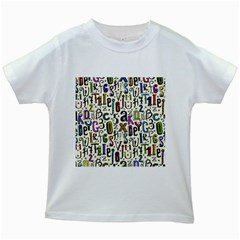 Colorful Retro Style Letters Numbers Stars Kids White T Shirts