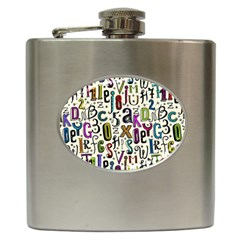 Colorful Retro Style Letters Numbers Stars Hip Flask (6 Oz) by EDDArt
