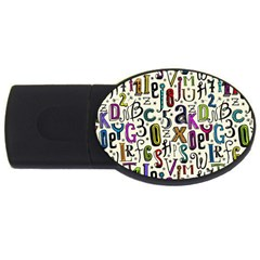 Colorful Retro Style Letters Numbers Stars Usb Flash Drive Oval (2 Gb) by EDDArt