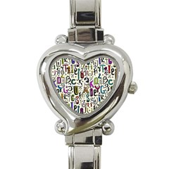 Colorful Retro Style Letters Numbers Stars Heart Italian Charm Watch by EDDArt