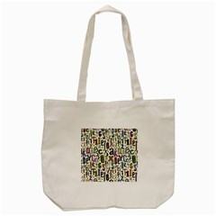 Colorful Retro Style Letters Numbers Stars Tote Bag (cream) by EDDArt