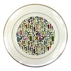 Colorful Retro Style Letters Numbers Stars Porcelain Plates by EDDArt