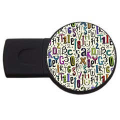 Colorful Retro Style Letters Numbers Stars Usb Flash Drive Round (4 Gb) by EDDArt