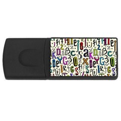 Colorful Retro Style Letters Numbers Stars Usb Flash Drive Rectangular (4 Gb) by EDDArt