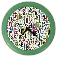Colorful Retro Style Letters Numbers Stars Color Wall Clocks by EDDArt