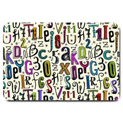 Colorful Retro Style Letters Numbers Stars Large Doormat  by EDDArt