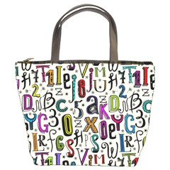 Colorful Retro Style Letters Numbers Stars Bucket Bags by EDDArt
