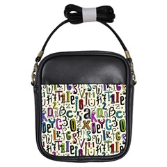 Colorful Retro Style Letters Numbers Stars Girls Sling Bags by EDDArt