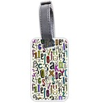 Colorful Retro Style Letters Numbers Stars Luggage Tags (Two Sides) Back