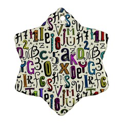 Colorful Retro Style Letters Numbers Stars Snowflake Ornament (two Sides) by EDDArt