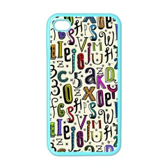 Colorful Retro Style Letters Numbers Stars Apple Iphone 4 Case (color) by EDDArt