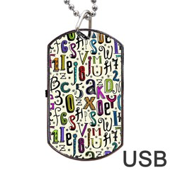 Colorful Retro Style Letters Numbers Stars Dog Tag Usb Flash (two Sides) by EDDArt