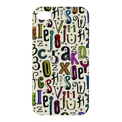 Colorful Retro Style Letters Numbers Stars Apple Iphone 4/4s Hardshell Case by EDDArt