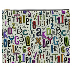 Colorful Retro Style Letters Numbers Stars Cosmetic Bag (xxxl)  by EDDArt