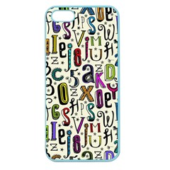Colorful Retro Style Letters Numbers Stars Apple Seamless Iphone 5 Case (color) by EDDArt
