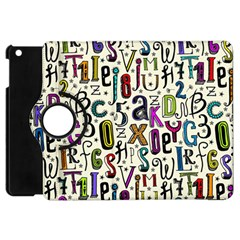 Colorful Retro Style Letters Numbers Stars Apple Ipad Mini Flip 360 Case by EDDArt