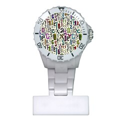 Colorful Retro Style Letters Numbers Stars Plastic Nurses Watch by EDDArt