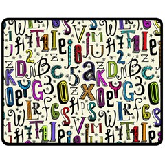 Colorful Retro Style Letters Numbers Stars Double Sided Fleece Blanket (medium)  by EDDArt