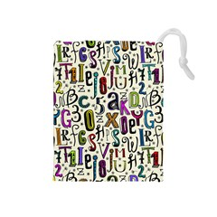 Colorful Retro Style Letters Numbers Stars Drawstring Pouches (medium)  by EDDArt