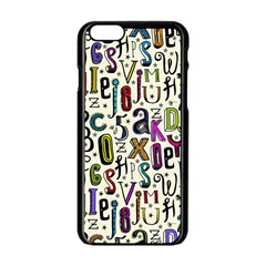Colorful Retro Style Letters Numbers Stars Apple Iphone 6/6s Black Enamel Case by EDDArt