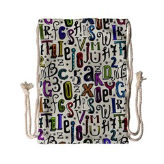 Colorful Retro Style Letters Numbers Stars Drawstring Bag (small)