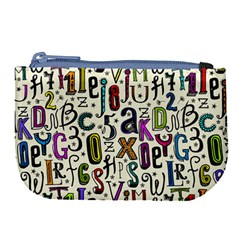 Colorful Retro Style Letters Numbers Stars Large Coin Purse by EDDArt