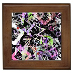 Chaos With Letters Black Multicolored Framed Tiles by EDDArt