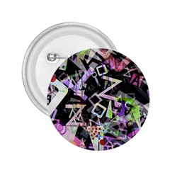 Chaos With Letters Black Multicolored 2 25  Buttons by EDDArt
