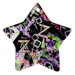 Chaos With Letters Black Multicolored Ornament (star) by EDDArt