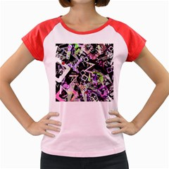 Chaos With Letters Black Multicolored Women s Cap Sleeve T-shirt by EDDArt