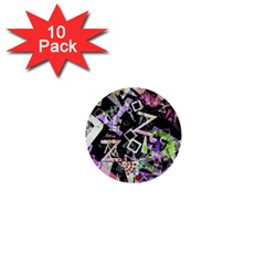 Chaos With Letters Black Multicolored 1  Mini Buttons (10 Pack)  by EDDArt