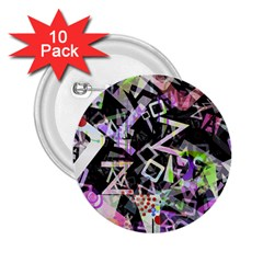 Chaos With Letters Black Multicolored 2 25  Buttons (10 Pack)  by EDDArt