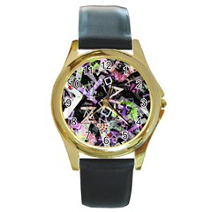 Chaos With Letters Black Multicolored Round Gold Metal Watch by EDDArt