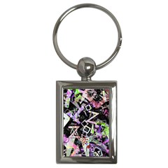 Chaos With Letters Black Multicolored Key Chains (rectangle)  by EDDArt