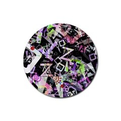 Chaos With Letters Black Multicolored Rubber Coaster (round)  by EDDArt