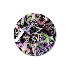 Chaos With Letters Black Multicolored Magnet 3  (round) by EDDArt