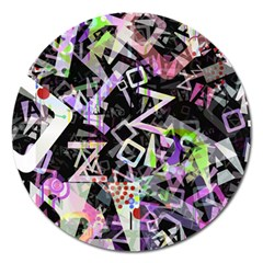 Chaos With Letters Black Multicolored Magnet 5  (round) by EDDArt