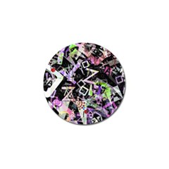 Chaos With Letters Black Multicolored Golf Ball Marker by EDDArt