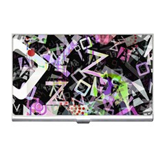 Chaos With Letters Black Multicolored Business Card Holders by EDDArt