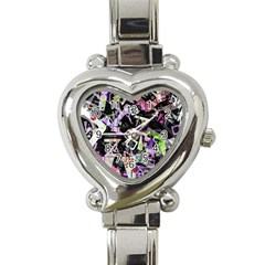 Chaos With Letters Black Multicolored Heart Italian Charm Watch by EDDArt