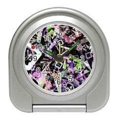 Chaos With Letters Black Multicolored Travel Alarm Clocks by EDDArt
