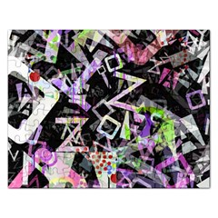 Chaos With Letters Black Multicolored Rectangular Jigsaw Puzzl by EDDArt