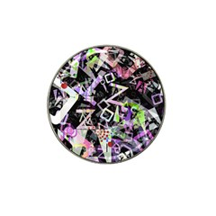Chaos With Letters Black Multicolored Hat Clip Ball Marker by EDDArt