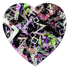 Chaos With Letters Black Multicolored Jigsaw Puzzle (heart) by EDDArt