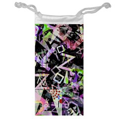 Chaos With Letters Black Multicolored Jewelry Bag by EDDArt