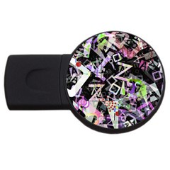 Chaos With Letters Black Multicolored Usb Flash Drive Round (4 Gb) by EDDArt