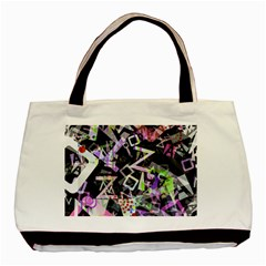 Chaos With Letters Black Multicolored Basic Tote Bag by EDDArt