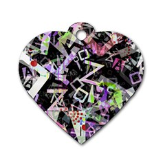 Chaos With Letters Black Multicolored Dog Tag Heart (two Sides) by EDDArt